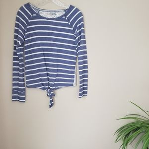 VANITY ] tie front lace back striped long sleeve